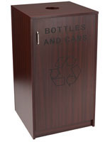 Hotel Recycling Receptacle with Mahogany