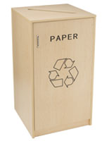 Paper Recycling Bin Container with Maple Finish