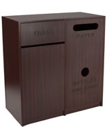 Food Court Waste Bins with Mahogany Finish