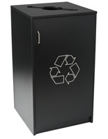 Commercial Recycling Receptacles with Black Finish