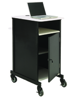 Metal Computer Cart with Locking Cabinet