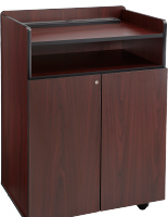 Mahogany Mobile Presentation Stand with Locking Cabinet