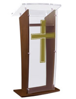 Wood Pulpit with Traditional Cross has an Acrylic Top & Front Panel