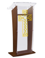 Wood Pulpit with Celtic Cross has an Acrylic Top & Front Panel