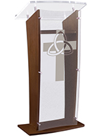 "Wood Pulpit with Trinity Cross Stands at a Height of 48.75"" Tall"