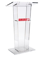 Transparent Podium with Custom Graphic, Acrylic