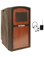 Portable Podium with Sound System with Over Ear Headset