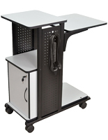 Notebook Computer Desk with Cabinet, Height Adjustable Shelf