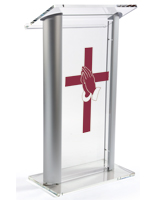 "48"" Tall Acrylic Pulpit with Prayer Hands Cross"