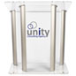 Large Lucite Lectern with 2-Color Graphic, Ships Fully Assembled