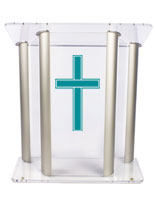 Wide Pulpit with Traditional Cross with Imprint, 1 Color Printing