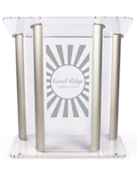 "Wide Acrylic Podium with Custom Logo, Sized 14"" x 24"""