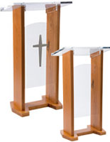 church lectern with plain and cross front panels