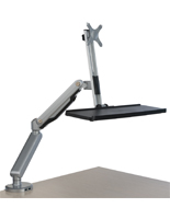 Single Desk Mount Monitor Arm with Keyboard Tray