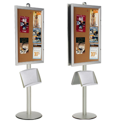 magazine racks with bulletin boards