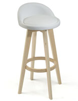 White Leather Barstool with Footsrest