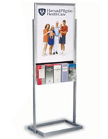 Poster Display Fixture Silver Double-Sided With 10 Brochure Holders