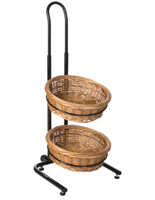 2 Tier Round Wicker Display Stand with Levelers