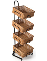 4 Tier Square Basket Stand with Levelers