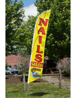 Nail Salon Flag with Yellow and Red