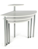 White Rotating Retail Display Table, Melamine Tops