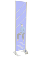 "16"" x 72"" Gray Permanent Banner Stand w/o Graphic"