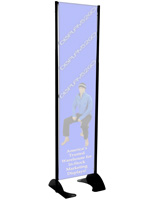 "18"" x 72"" Black Permanent Banner Stand w/o Graphic; Made in U.S.A"