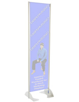 "18"" x 72"" Gray Permanent Banner Stand Without Graphic"