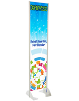 "18"" x 72"" Gray Permanent Banner Stand w/ Single Sided Graphic; Sustains Most Weather"