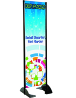 "20"" x 72"" Black Permanent Banner Stand with Single Sided Graphic"