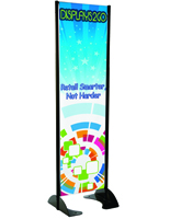 "24"" x 72"" Black Permanent Banner Stand with Single Sided Graphic,"