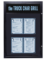 Exterior-rated bulletin boards for food menus