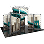 Portable trade show display booth truss with hard-sided storage cases