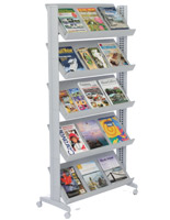 magazine display with casters