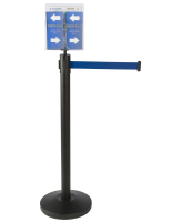 Durable Blue Stanchion & Post with Literature Holder