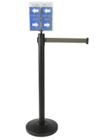 Durable Gray Stanchion & Post with Literature Holder