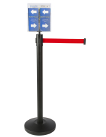 Durable Red Stanchion & Post with Literature Holder