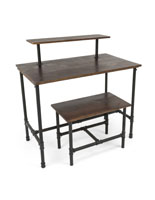 Set of Pipe Display Nesting Tables with Dark Brown Tabletops