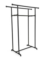 Double Rail Pipe Clothing Rack with Black Powder Coated Finish