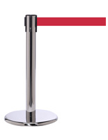 Mini Stanchion with Red Belt, Polished Stainless Steel Finish