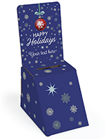 Holiday printed cardboard donation box with removable header