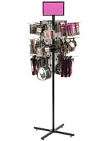 "Rotating Grid Rack with 8"" Pegs Includes 20 Hooks"