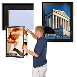 black poster displays