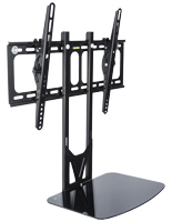 TV Wall Mount with Floating Glass Shelf for Digital Equipment