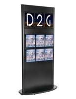 MDF Wood Slatwall Kiosk with Magazine Holders