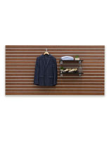 Cherry Finish Large Slotted Wall Board Panel with Hanging Men's Jacket