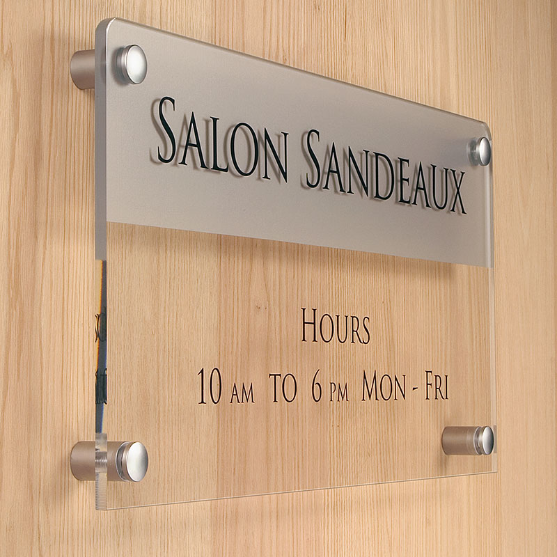 Satin silver standoffs transform signs into knockout visual statements