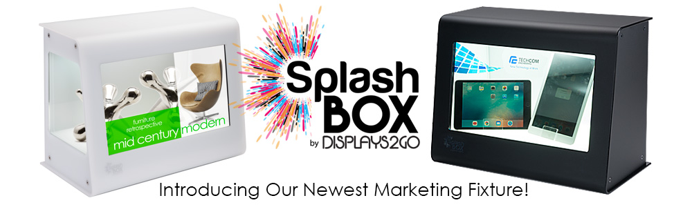 Introducing SplashBox, our newest display case with augmented HD content playing in front on a clear LCD screen.