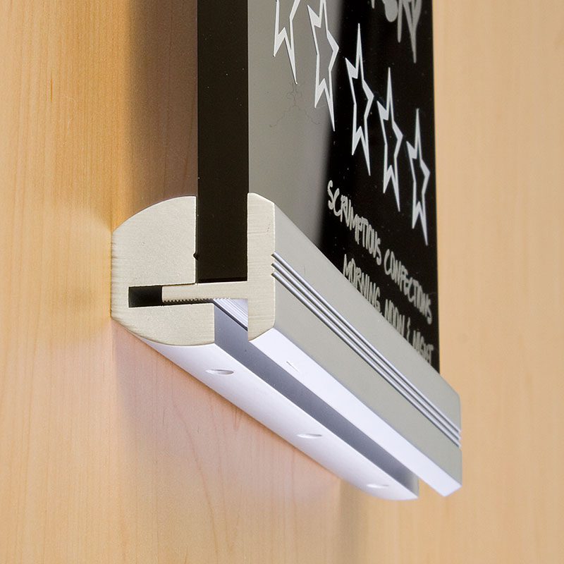 Elegant wall mounted rail for interior signs