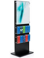 "66"" Tall Black Wood Standing Frame with Brochure Holder"